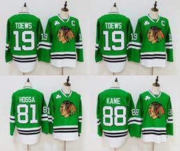 Toews jerseys verdes online-Green Chicago Blackhawks Jersey 19 Jonathan Toews 81 Marian Hossa 88 Patrick Kane Jersey cosida Hockey Jerseys