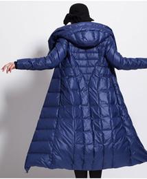 2019 abrigo de invierno azul 2018 nuevas mujeres abrigo de invierno sombrero grueso de gran tamaño negro oscuro azul hembra abajo chaquetas abrigo de invierno azul baratos