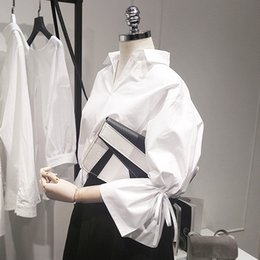 mangas acampanadas Rebajas Nuevas mujeres Casual Basic Summer Autumn Blusa Top OL Blanco Work Wear Vendaje suelto de gran tamaño
