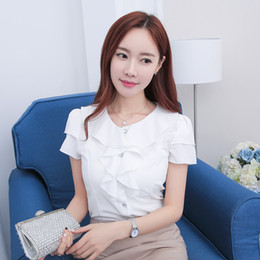 Wholesale formal tops for ladies - Petal Short Sleeve White Shirt For Women Summer Pink Round Neck Chiffon Tops Formal Office Ladies White Blouse