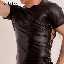 Wholesale Leather Tank Top Men - YUDEIDA New Sexy Men's T-Shirt Black Bandage Leather Undershirts Short Sleeve Gay Wear Sex Product Fashion Elastic Tank Top Vest