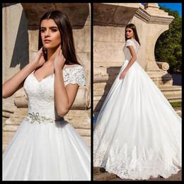 Wholesale Outdoor Short Wedding Dress - 2018 Short Sleeves V Neck Lace A Line Wedding Dresses Tulle Applique Beaded Sash Floor Length Outdoor Wedding Bridal Gowns