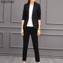Wholesale Woman Korean Short Pants - EXOTAO 2017 Plus Size Korean Style Professional Suit Women Short Blazer Set Ankle-length Pants Suit Long Sleeve Two Pieces