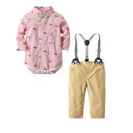 2019 fahrradfarbe rosa Jungen stellt 2019 NEUE Ankunftsfrühling-Herbst-lange Hülse nette Karikaturbike-Bindung rosa Spielanzug + reine Farbenstrapsehosen Qualitätsbaumwollsätze ein günstig fahrradfarbe rosa