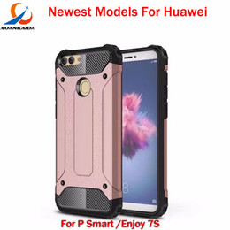 Wholesale Huawei Silicone Case - For Huawei Y7 prime 2018 Y6 P Smart P20 PLUS Enjoy 7S Mate10 Pro View10 Honor10 lite Shock proof Hard Armour Rubber case cover Hybrid cases