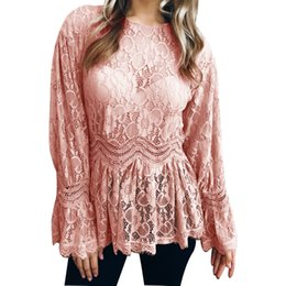 94167f29783 2018 New Womens Ladies O-neck Elegant Clothing Long Sleeve Lace Hollow Flower  Tunic Casual Shirts Tops Blouse Clothes Free Shipping