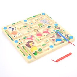 Wholesale wooden toys maze - 2 in 1 Magnetic Animal Maze Game Wooden Labyrinth Board Chess Kids Early Educational Learning Children Wooden Toys