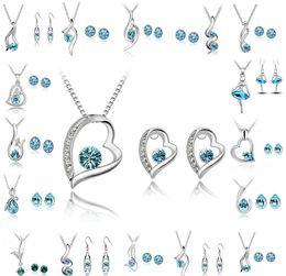 Canada Ensemble de bijoux de demoiselle d'honneur Boucles d'oreilles de mariage Swarovski Argent Cristal Bijoux Long Collier Cadeau Ensemble Indien Africain Bijoux Ensemble de Bijoux cheap indian jewellery jewelry Offre