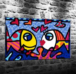 pintura de peixes sala de estar Desconto Amor Peixe, Pintura Da Lona Sala de estar Decoração de Casa Moderna Mural Art Pintura A Óleo