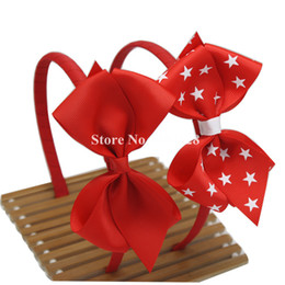 Wholesale Headband Navy - 4th Of July Headwear With Hair Bows,Red,Navy,White Novelty Hair Bows,Polyester Bows, Headband