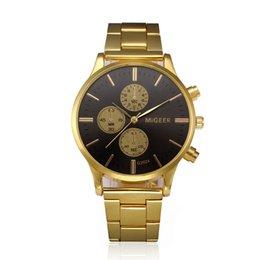 Wholesale Desktop Business - MIGEER Men Watch Crystal Stainless Steel Analog Quartz Wrist Watch Bracelet Fashion Desktop Clock Relogio Masculino Gift Y 50