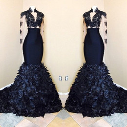 Wholesale Skirt Mermaid Bones - New Arrival Mermaid Long Sleeves Prom Dresses 2018 Black Girls African High Neck Evening Gowns With Layers Ruffle Skirts BA8173