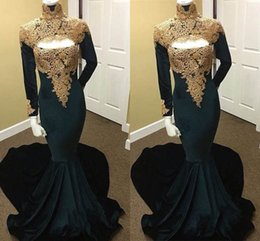 Wholesale unique style dresses - 2018 High Neck Honorable Prom Dresses Long Sleeve Trumpet Unique Style Luxury Plus Sequins Party Evening Dresses Mermaid Evening Gowns