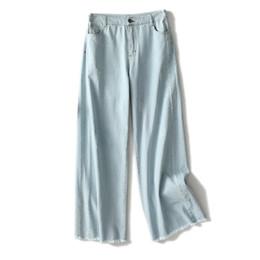 779dcd131336c S-XL Loose Cotton Jeans Women Summer Autumn Thin Wide Leg Denim Trousers  Scratched Tassel Jeans