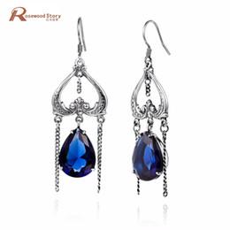 сердце формы длинные серьги Скидка 925 Sterling Silver Heart Shape Dangle Earrings Vintage Dark Lab Sapphire Stone Earrings Long Tassel Crystal for Woman