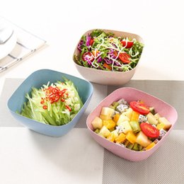Wholesale food grade plastic containers - Food-grade Plastic Salad Bowls Square Fruit Snacks Candies Picnics Tableware Outdoor Containers Kitchen Tools 4 Colors