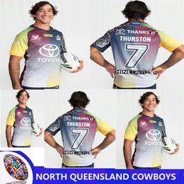 Wholesale Rugby Cowboys - NORTH QUEENSLAND COWBOYS 2018 THURSTON TESTIMONIAL JERSEY 2017 NRL Captain America thanks jt Rugby 2017 Cowboys rugby shirts size S-3XL
