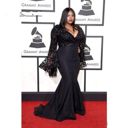 Wholesale Grammy Evening Gowns - Grammy Awards Plus Size Celebrity Dresses Long Sleeves Sequins Prom Gowns Black Lace Mermaid Evening Dresses Custom Made