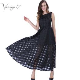 71ff696a4 Venta al por mayor de verano a cuadros mujeres vestido nuevo largo día de  organza vestido Vestidos De Festa Satén estilo de moda negro mujeres  vestidos