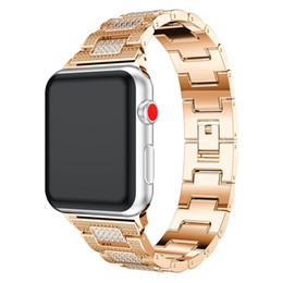 Wholesale Metal Wristbands - For Apple Watch Metal Band, Adjustable Alloy Bracelet Replacement With Crystal Rhinestone Wristband Accessory For 38mm 42mm Apple Watch Seri