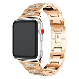 Bracelets de bande de métal en Ligne-Pour Apple Watch Metal Band, remplacement du bracelet en alliage réglable avec cristal strass Bracelet Accessoire Pour 38mm 42mm Apple Watch Seri
