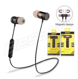 Wholesale Universal Earpiece - Sports Bluetooth Wireless Earphone Metal Magnetic Stereo Headset Magnet Earpiece Earbuds Handsfree With Mic for Iphong X