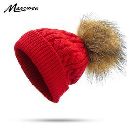 ef1e609fbd5 Kids Children Faux Fur Pompon Hat Winter Knitted Beanies Caps Hats Boy Girl  Twist Pattern Balaclava Skullies Hats Face Mask Bone