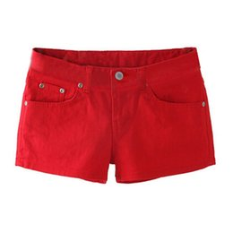 Wholesale Skinny Jeans Women Candy Color - Wholesale- SYB 2016 NEW Summer Denim Shorts Slim Fit Candy Color Short Pants Short Jeans Women Shorts Denim red