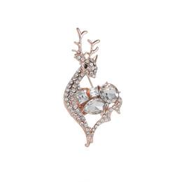 Regalo di Natale Simpatico Cervo Spille Perni per le donne Cappotto Abbigliamento Sciarpa Spilla Pins Elk Corsage Jewelry Fashion Crystal Pins Broches da
