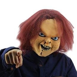 2019 levou fibra óptica luz branca Nova Máscara de Halloween Máscara de Látex de Natal Dos Homens Chucky the Killer Boneca Máscara de Carnaval Vestido de Halloween Adereços