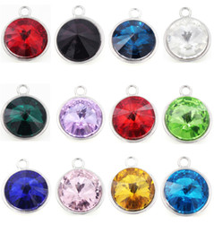 Wholesale Birthstone Colors - 12 Colors 17mm Glass Charms Jan.~Dec. Round Heart Star Shaped Birthstone Charm for DIY Floating Locket