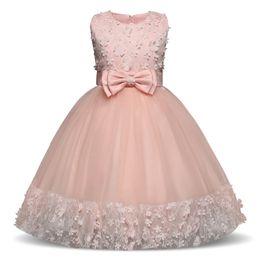 Wholesale European Children Clothes Sizes - Christening Baby Flower Princess Dress for Wedding Formal Wear Girl Clothing Kids Dresses Girls Clothes Children Size 6 7 8 9 10