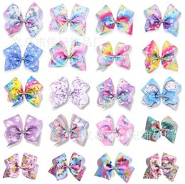 Wholesale Pink Gray Hair Color - 8 Inch Unicorn Jojo Bows Unicorn Birthday Party Supplies Alligator Clips Jojo Bow Unicornio Prints Hair Bows Unicorn Party Favor