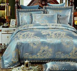 Wholesale Quilt Cover Wedding - Light blue modal tencel silk bedding linens 4pcs queen king lace bedding sets flowers jacquard quilt cover sheet pillowcase 5737
