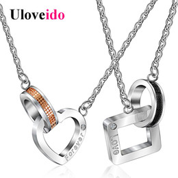 e06a64ef91e2f Uloveido Necklaces   Pendants Couple Necklace for Men and Women Heart and  Square Paired Pendant Valentines Day Gift 2018 SN048