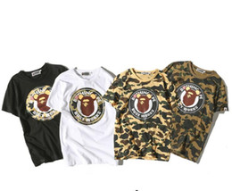Wholesale Collar Bear - Violent bear head T-shirt camouflage cotton short sleeved T-shirt round collar leisure and European and American tide brand short sleeves