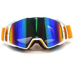 Esqui cross on-line-New Goggle Tinted UV Stripe Motocicleta Óculos de Moto Motocross Cross Country Óculos de Neve Flexível Esqui Lunette