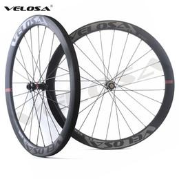 Wholesale Tubular Disc Wheels - Velosa CX45 Road Disc Brake carbon wheelset,45mm hookless,700C road bike wheel,cyclocross wheel,tubeless compatible, super light