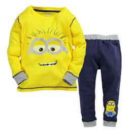 Новые мальчики и девочки дети костюм мультфильм маленькие желтые люди с длинными рукавами куртка + брюки 2 шт. 520 supplier yellow jacket boys от Поставщики желтые куртки мальчиков