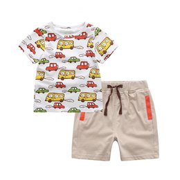 Wholesale Baby Clothes Car Cartoon - 2017 Summer New Arrival Casual Baby Boys Clothing Set White Cartoon Cars Printing T-Shirt Top+Short Pants Ropa De Bebe Baby Suit