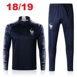 Wholesale Full Feet - Top quality 2018 France jerseys POGBA GRIEZMANN PAYET KANTE Mbappe Football shirts 18 19 France Training suit maillots de foot