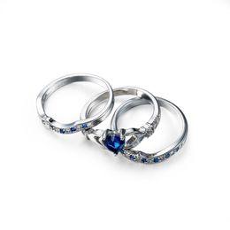Argentina Luckyshine Vendedor caliente Marca de joyería de moda Anillos de boda de las mujeres para los amantes Azul oscuro en forma de corazón Circón Plateado Plata 3 Unids Anillos Set cheap dark blue fashion jewelry Suministro