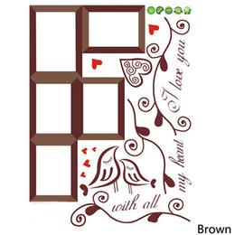 Marco de fotos de aves online-Moda Home Photo Frame Loving Bird Love You corazón calcomanías de vinilo pegatinas de pared de PVC sala de estar DIY decoración para el hogar