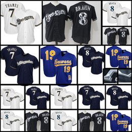 Wholesale Milwaukee Blue - Milwaukee Brewers Jersey Men's 8 Ryan Braun 7 Eric Thames 19 Robin Yount stitched Baseball Jerseys Cheap sales