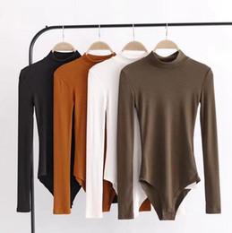 Wholesale Womens Body Suits - Women Sexy Bodysuit Autumn Body Suit Mock Neck Long Sleeve Bodysuit Party Tops Rompers Womens Jumpsuit 4 Colors LJJO4314