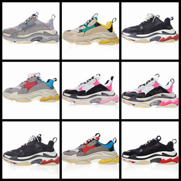 Wholesale Gold Shoes Thick Heel - New Original Box Unveils New Triple S Casual Shoe Man Woman Sneaker High Quality Mixed Colors Thick Heel Grandpa Trainer Shoes EUR 35-45