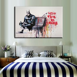 Wholesale Banksy Oil Paintings - ZZ1953 graffiti banksy street art prints hero time is gone canvas pictures banksy oil art painting for livingroom bedroom decor