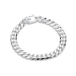 платиновые браслеты для мужчин Скидка Бесплатная доставка! 8 мм квадратная пряжка сторона brace 925 серебряный браслет JSPB227, зверь подарок мужчины и женщины стерлингового серебра покрытием цепи ссылка браслеты