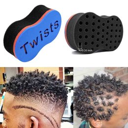 Wholesale Oils For Hair - Hair Salon Twist Tools Barber Sponge Hair Brush for Dreads Afro Locs Twist Curl Coil Magic Twist Hair Styling Tool Blue Color