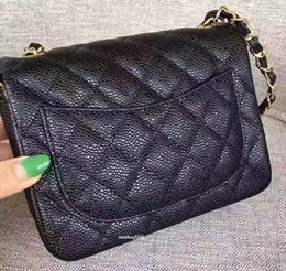 Wholesale quilted leather clutch - Top quality CF 17.5CM jumbo Black Genuine Lambskin Leather Quilted caviar Mini Clutch Chain Flap brand shoulder bag Women's Messenger Bag